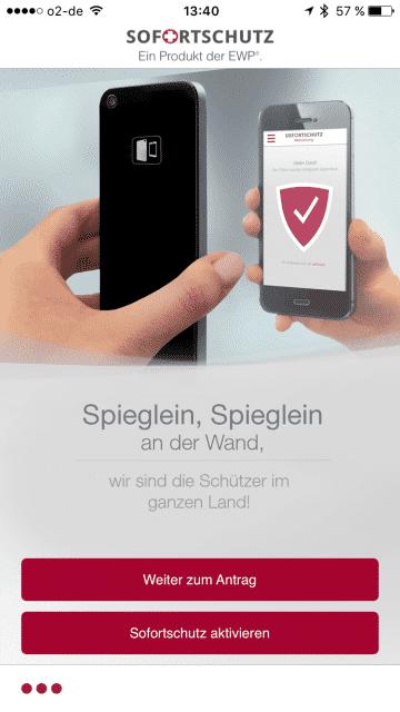 Sofortschutz iPhone App