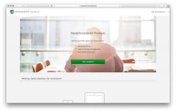 Assurant Solutions Handyversicherung Webseite 2016