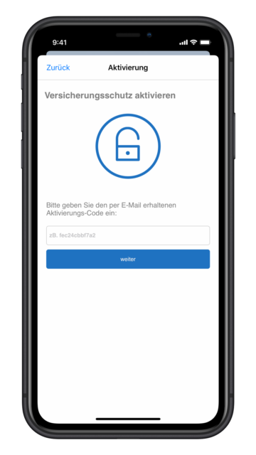 Wertgarantie App Aktivierungs-Code eingeben