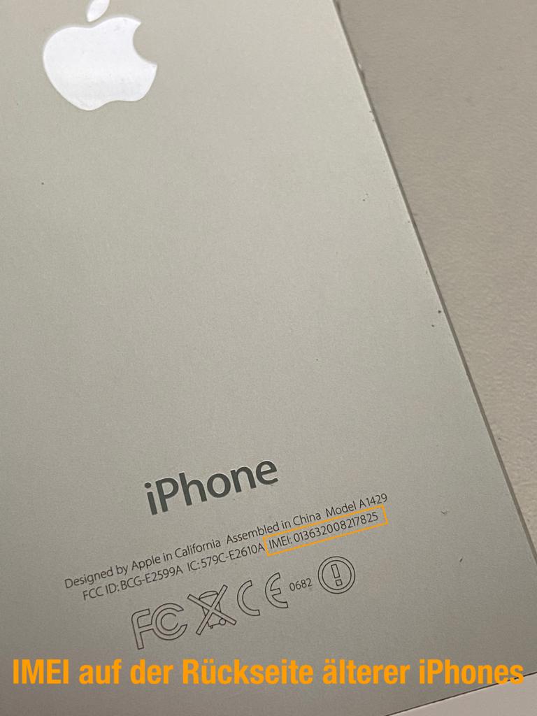 IMEI auf der Rückseite älterer iPhones (z.B. iPhone 5)